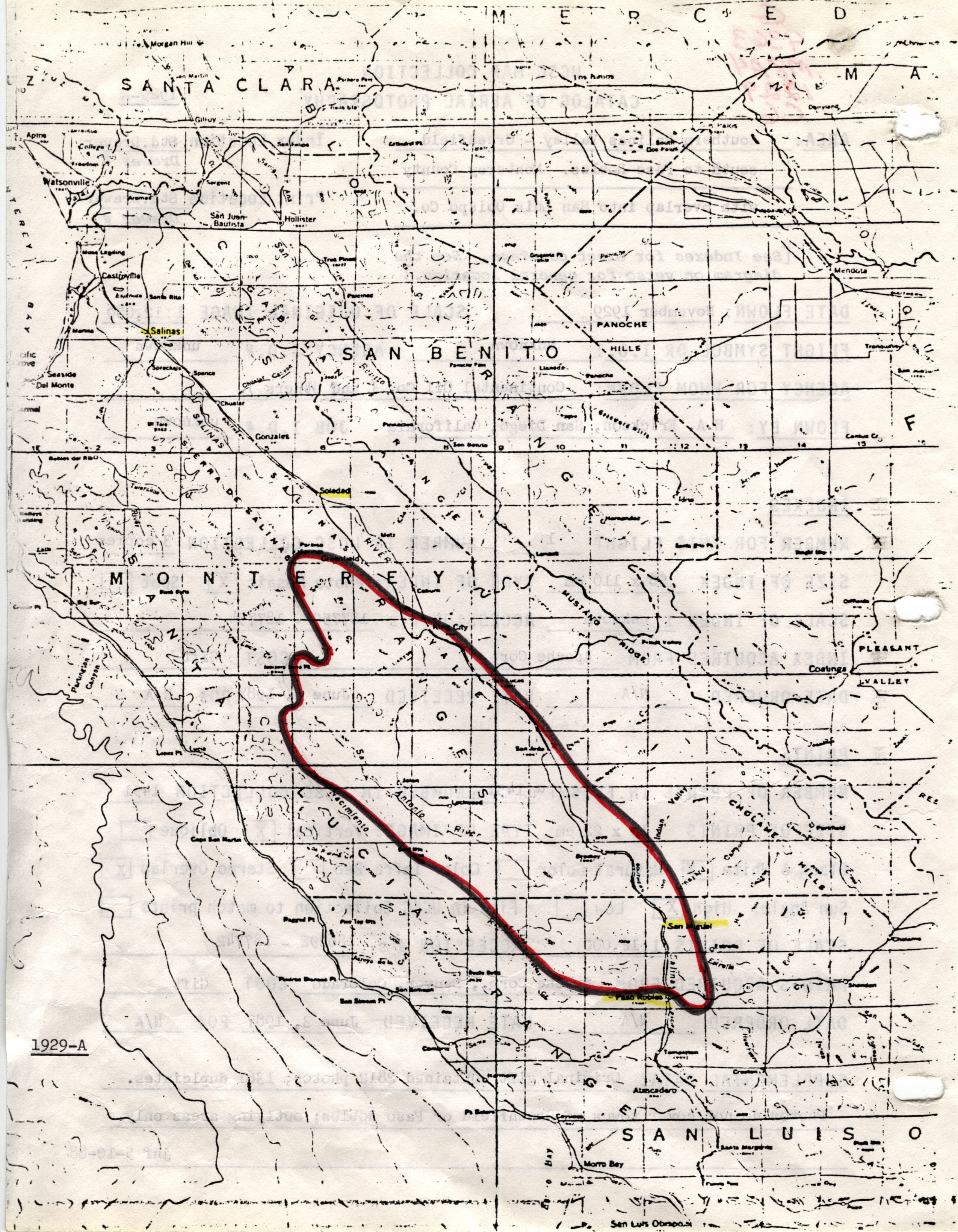 1929A Southern Salinas Valley Greenfield south to Paso Robles