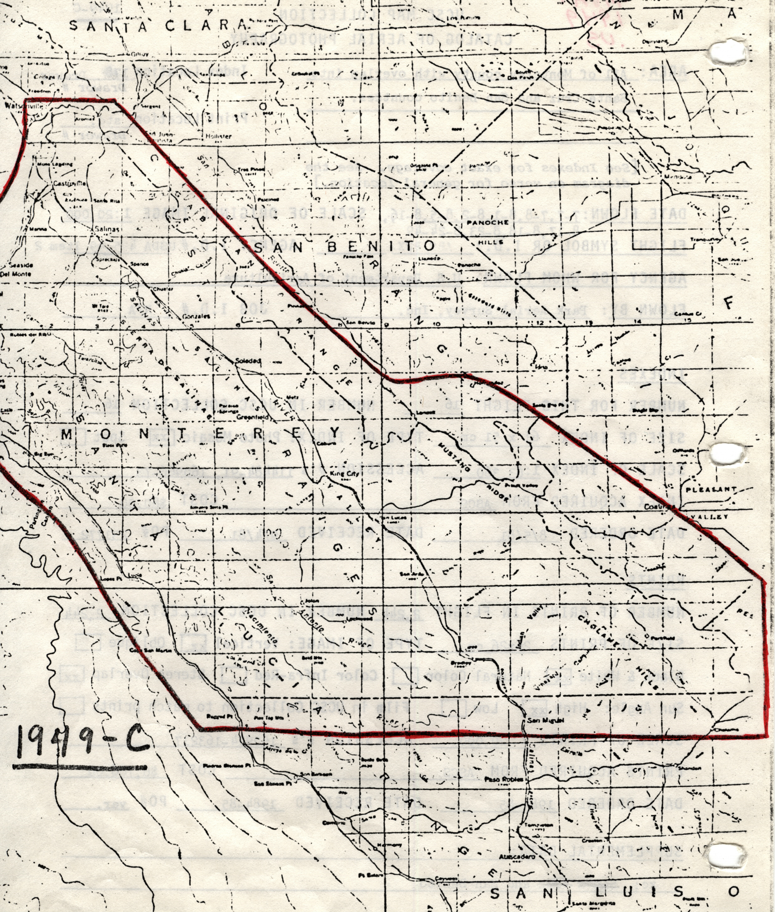 Monterey County California Map.1949 C Monterey County California With Overlap Into Santa Cruz And