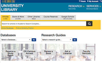 Screen shot of new library website