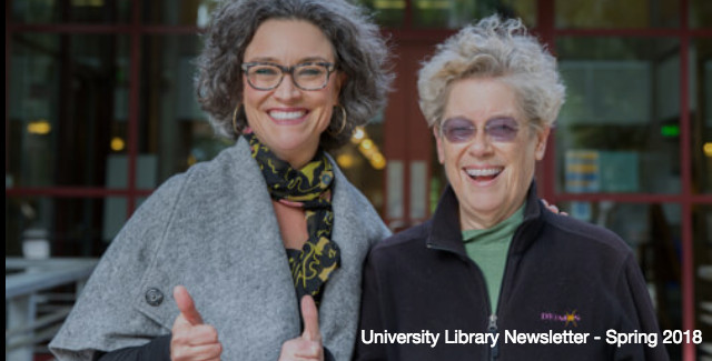 Elizabeth Cowell and Dr. Sandra Faber in front of the S&E library