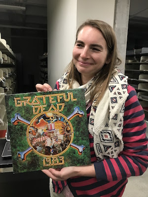 Alessia Cecchet, 2017-2018 CART fellow, with a piece from the Grateful Dead Archives