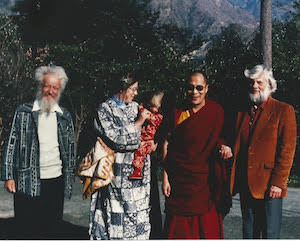 L to R: Noel King, Laurie King, Zoe King, Dalai Lama, Ken Orrett taken in 1982 in India.