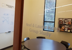Looking into the Noel and Laurie King Group Study Room